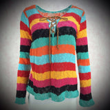 2000s SUSS Multi-Color Striped Lace-Up Front Pullover, NOS