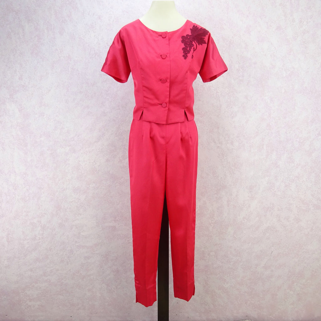 Vintage 60s Outfit W Pencil Slacks Button Front Top NWT Voguely Familiar