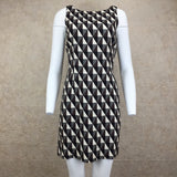 Vintage 90s Diamond Print Op Art Silk Dress, Front