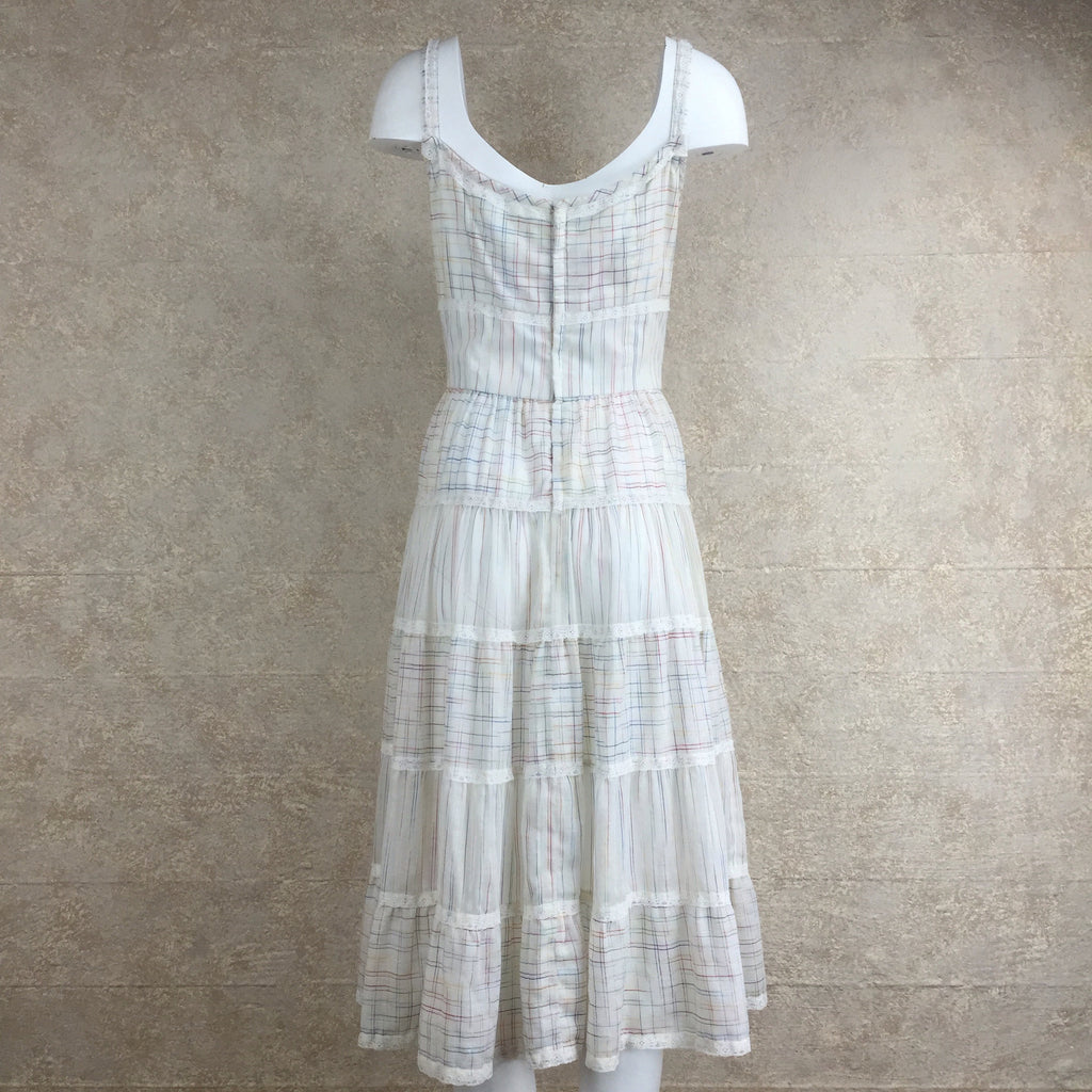 Vintage 70s Tiered Peasant Dress, back