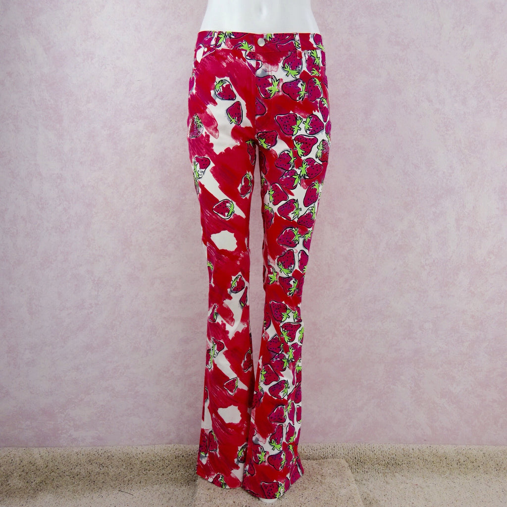 2000s BLUMARINE Strawberry Print Flared Pants NWT front