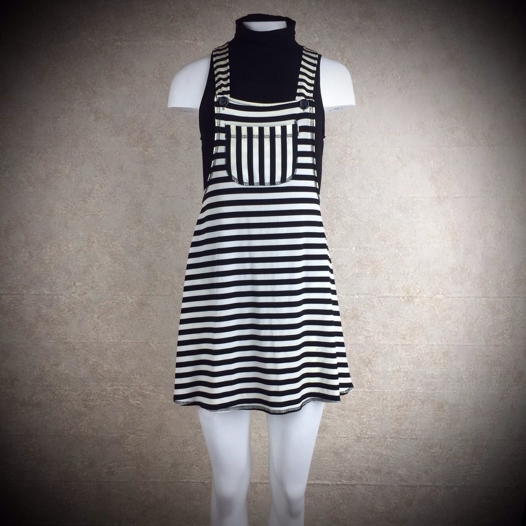 2000s Striped Cotton Knit Overall Dress, NOS