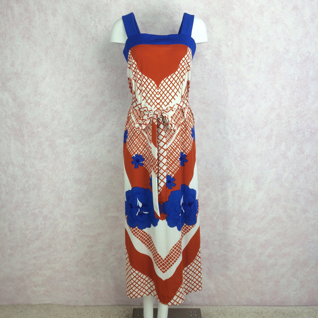 Vintage 70s Poly Print Sleeveless Dress, Front
