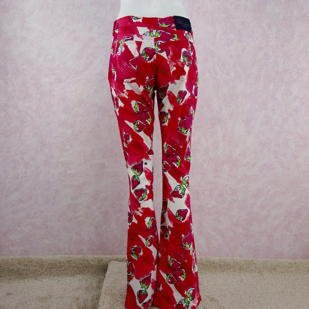 2000s BLUMARINE Strawberry Print Flared Pants NWT back