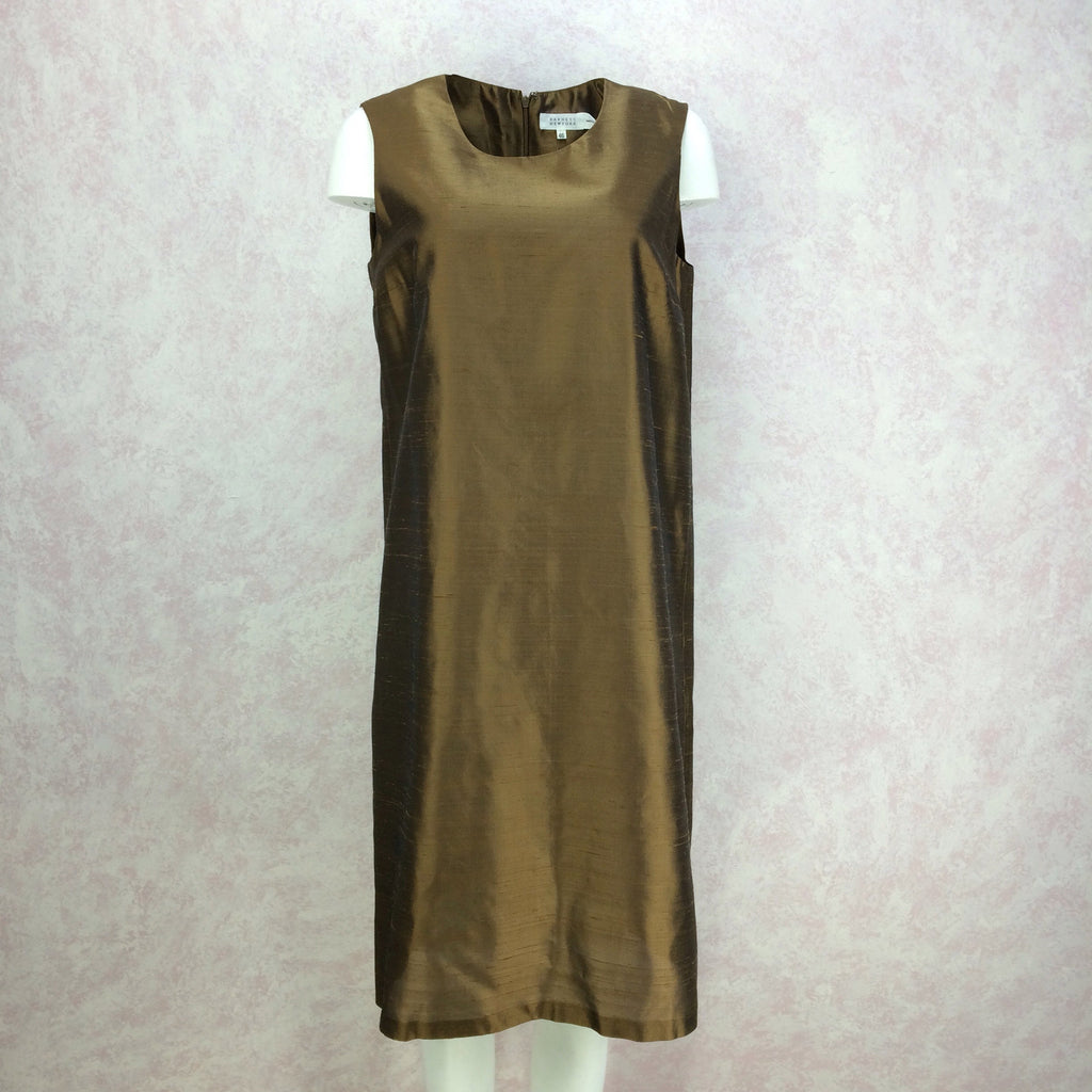 2000s Bronze Silk Sheath Dress, NWT