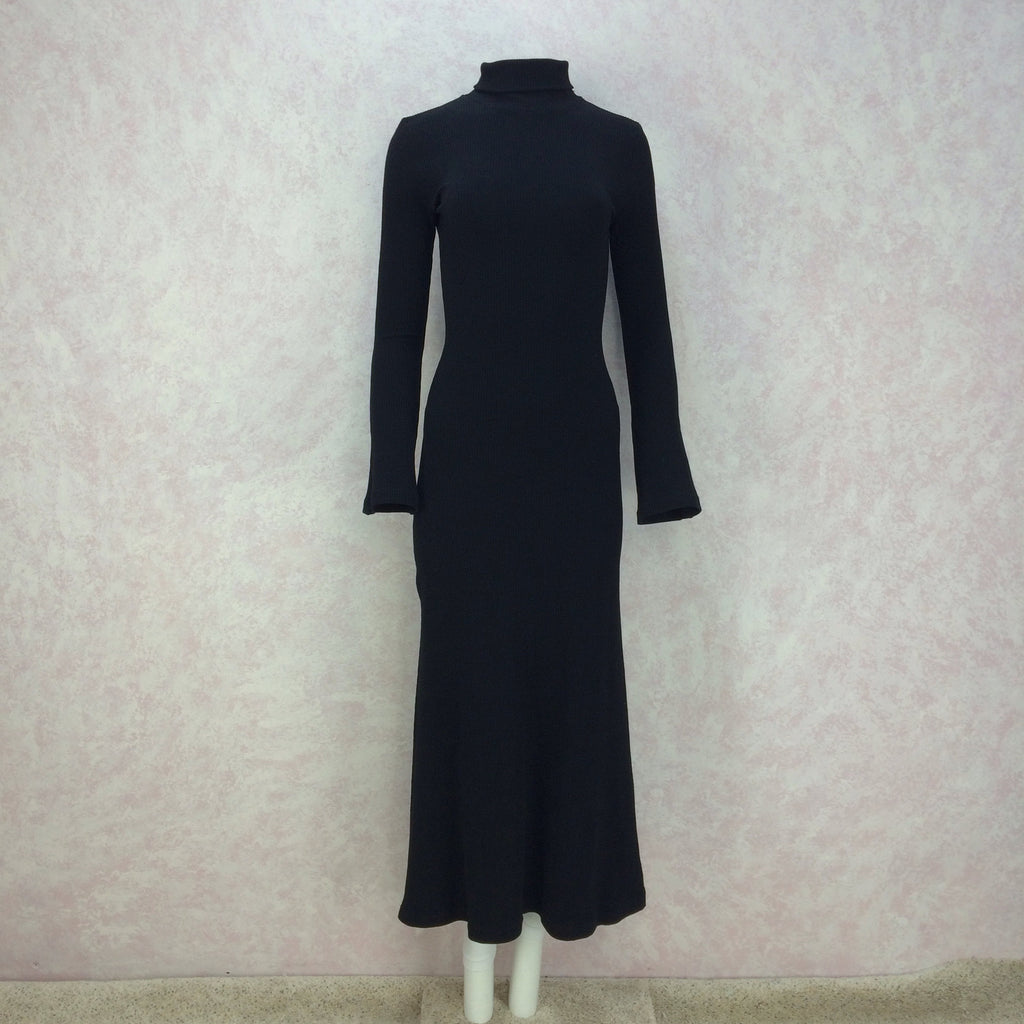 2000s Black Classic Knit Turtleneck Gown, Back