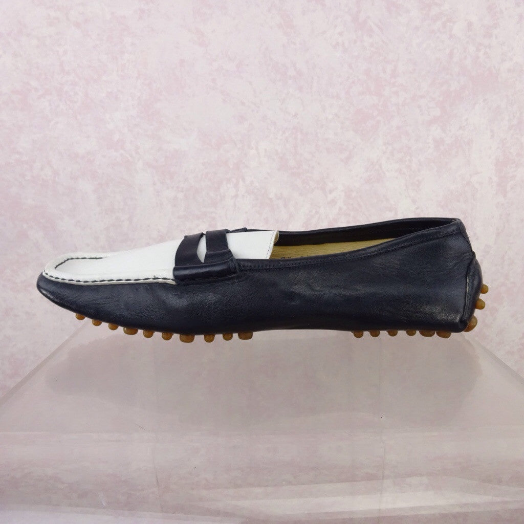 2000s BLUMARINE 2-Tone Leather Penny Loafer, NOS f