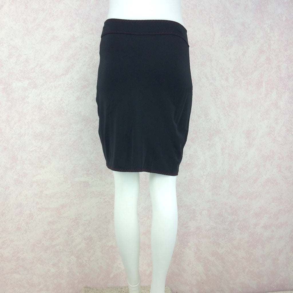 2000s Rayon Crepe Body Hugging Skirt, Back