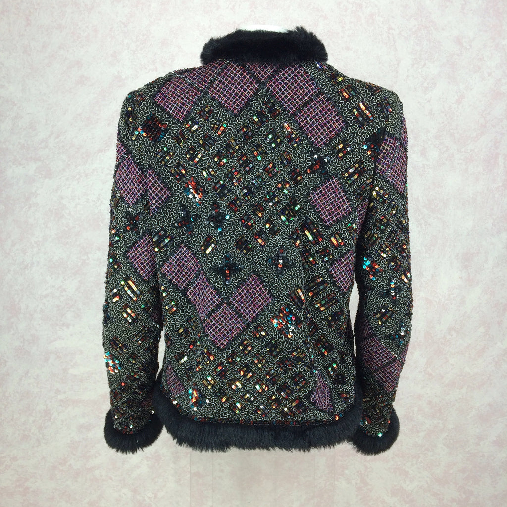 2000s CARINA Beaded & Faux Fur Jacket w/Embroidery, back