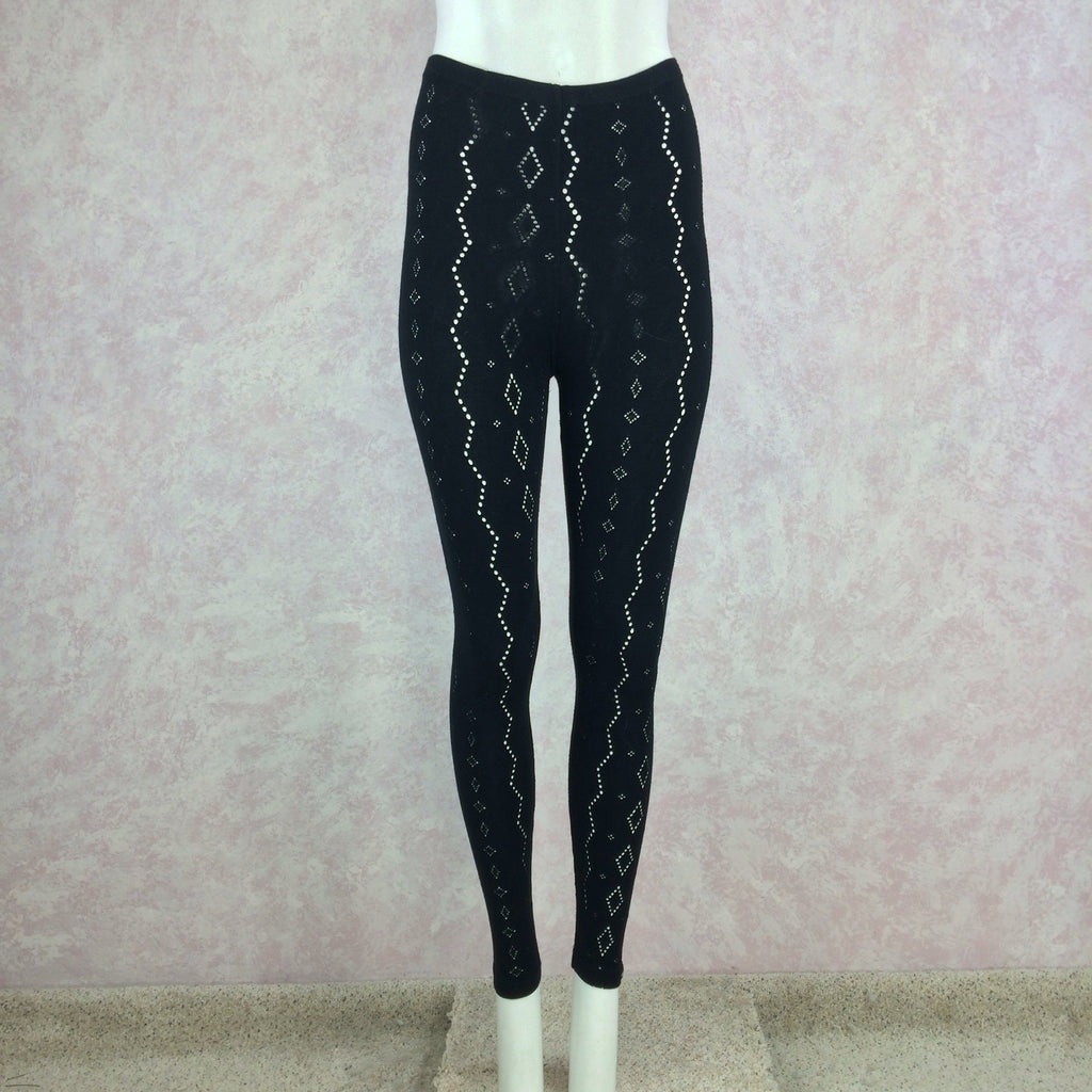 2000s ANTI-FLIRT Black Stretch Eyelet Leggings, Front