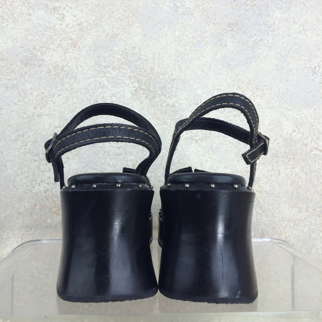 2000s MIA Wood & Leather Clogs, Back