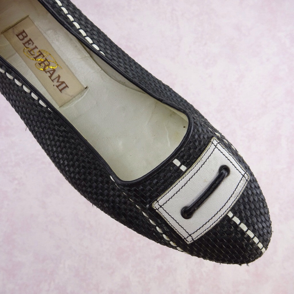 Vintage 70s Leather Basket Weave Flats w/Buckle dddd