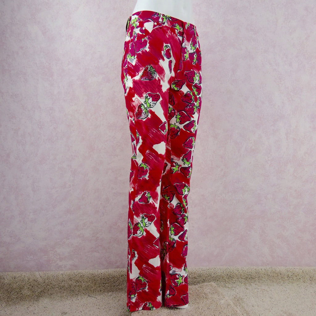 **** 2000s BLUMARINE Strawberry Print Flared Pants side