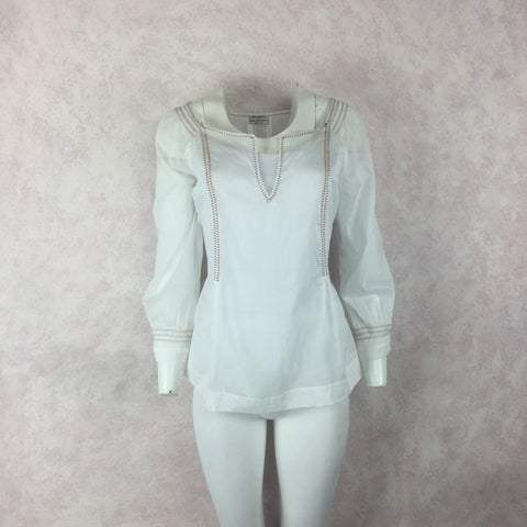 2000s BCBG Max Azria Cotton Dress w/Color Topstitch Detail, NOS