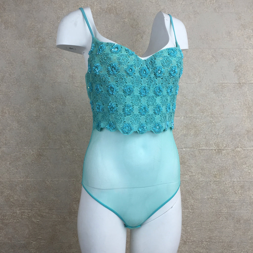 2000s Turquoise Beaded Bodysuit Camisole, Side