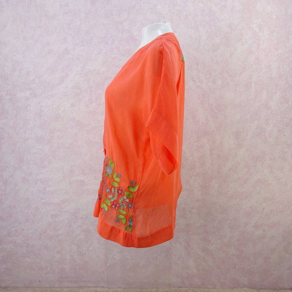 2000s JOHNNY WAS Rayon Embroidered Top, NOS.  s