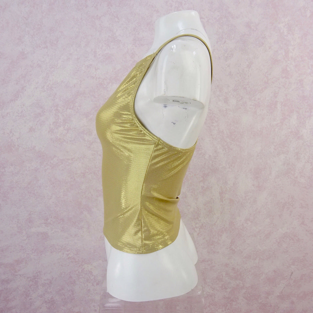 2000s Gold Stretch Racer Back Tank, NOS s