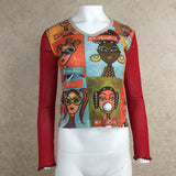 2000s CUSTO BARCELONA Illustrated Pullover Top, Front