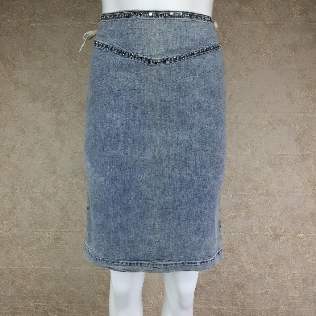 Vintage 90s DOLCE & GABANNALace-Up Denim Skirt, Front