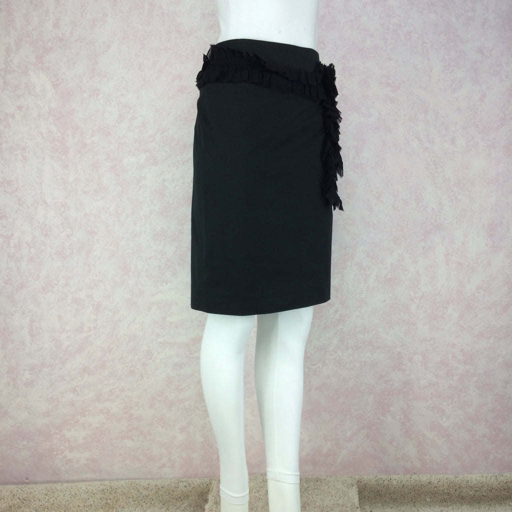 2000s CHLOE Silk Skirt w/Single Ruffle, Side