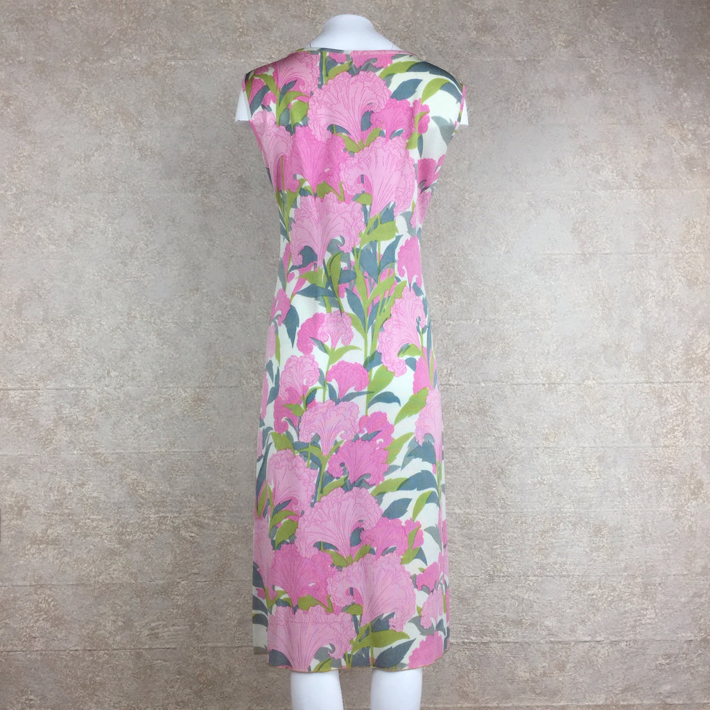 Vintage 60s Tropical Print Sheath Dress, back