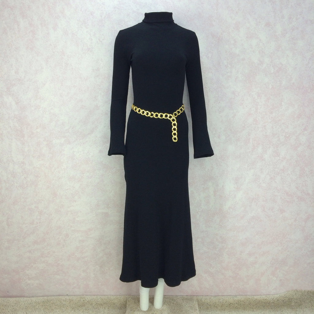 2000s Black Classic Knit Turtleneck Gown, Belted