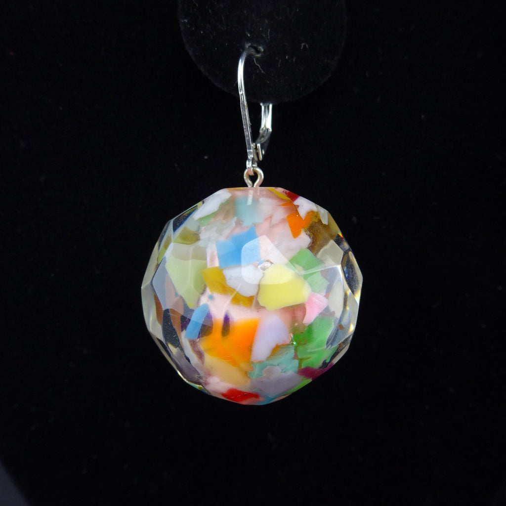 "2000s Faceted ""Confetti"" Resin Ball Earrings"