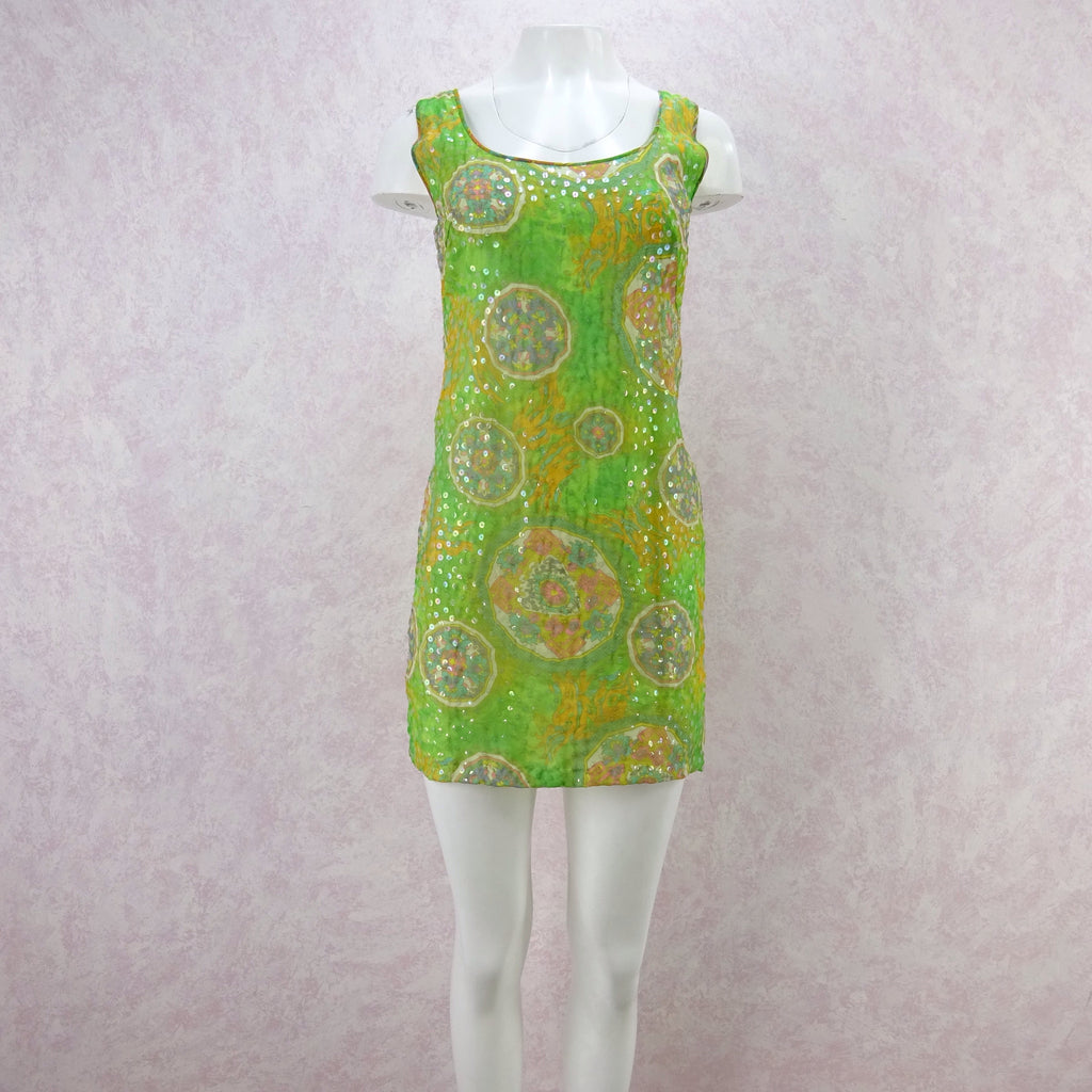 c8e3d03653e Vintage 60s Psychedelic Print Sequinned Tank Dress – Voguely Familiar
