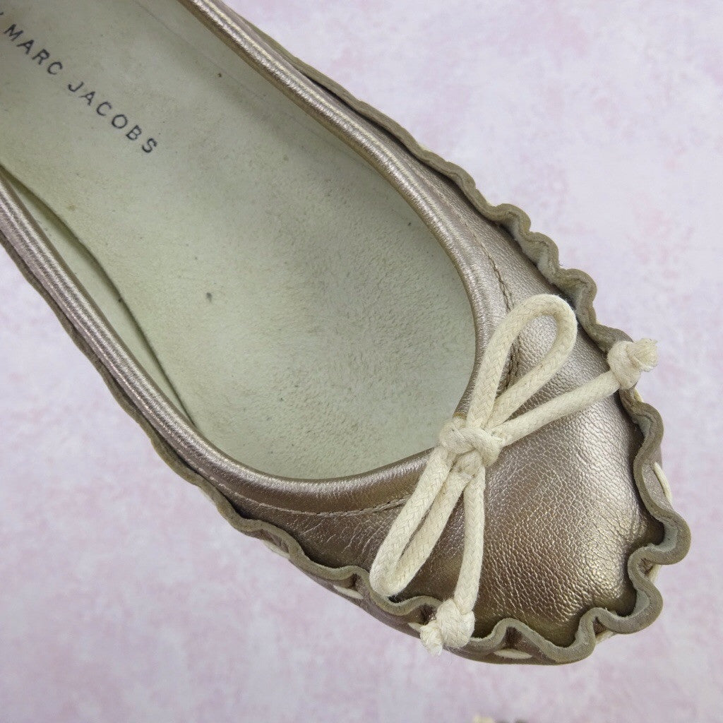 2000s MARC JACOBS Gold Leather Ballerina Flats adfd