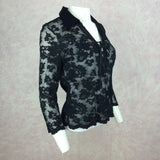 2000s CASADEI Black Lace Lace-Up Blouse, Side