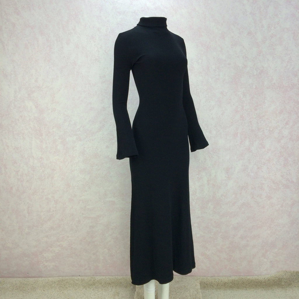 2000s Black Classic Knit Turtleneck Gown, Side 2
