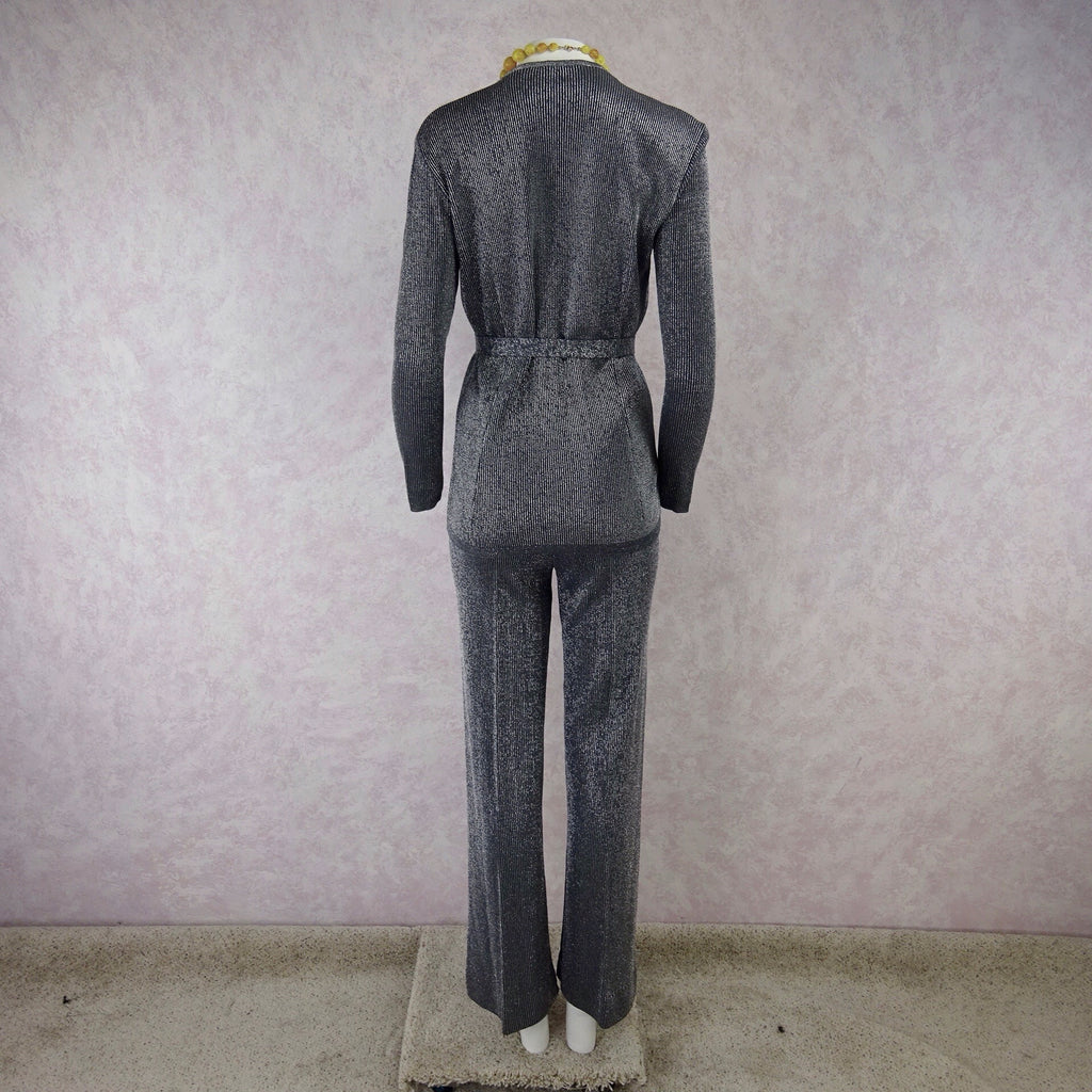 Vintage 70s Ribbed Silver Lurex Knit Pantsuitb