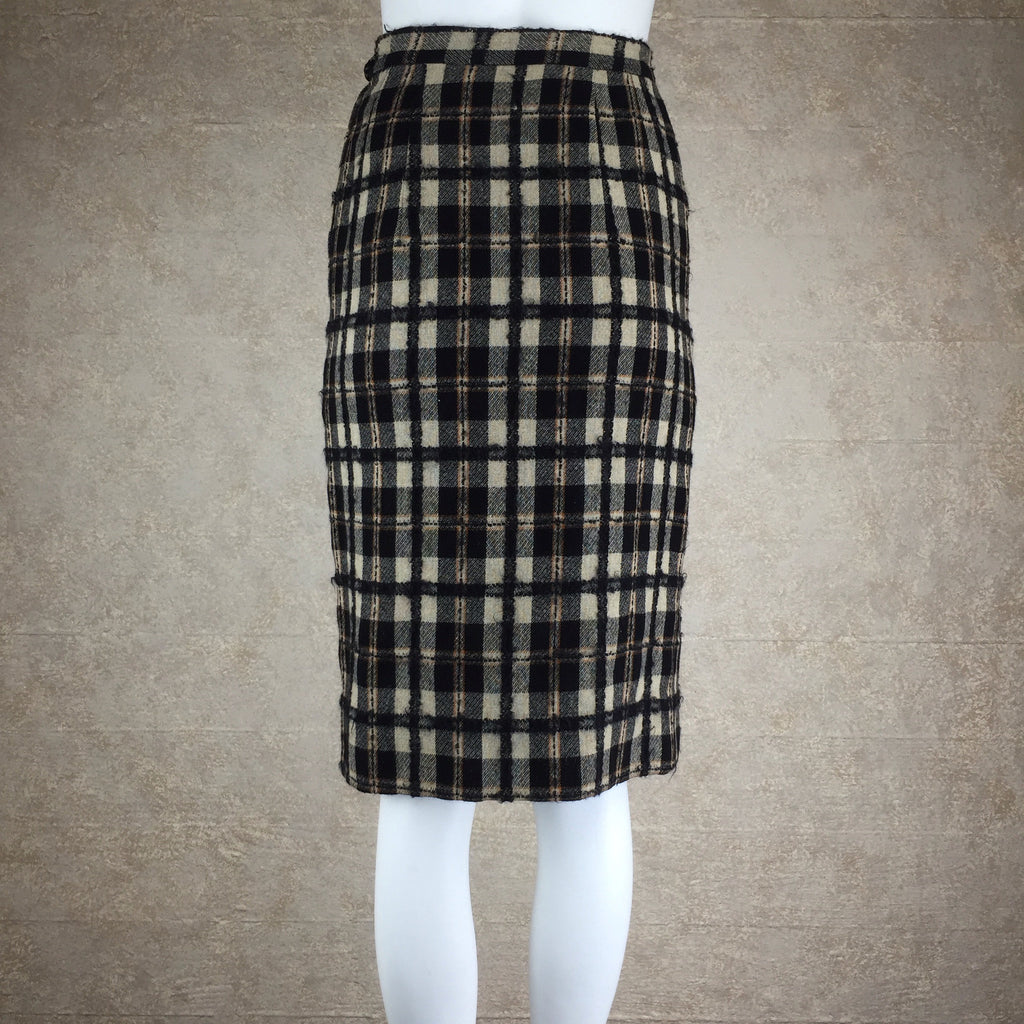 Vintage 50s Brown & Black Plaid Tweed Pencil Skirt, front