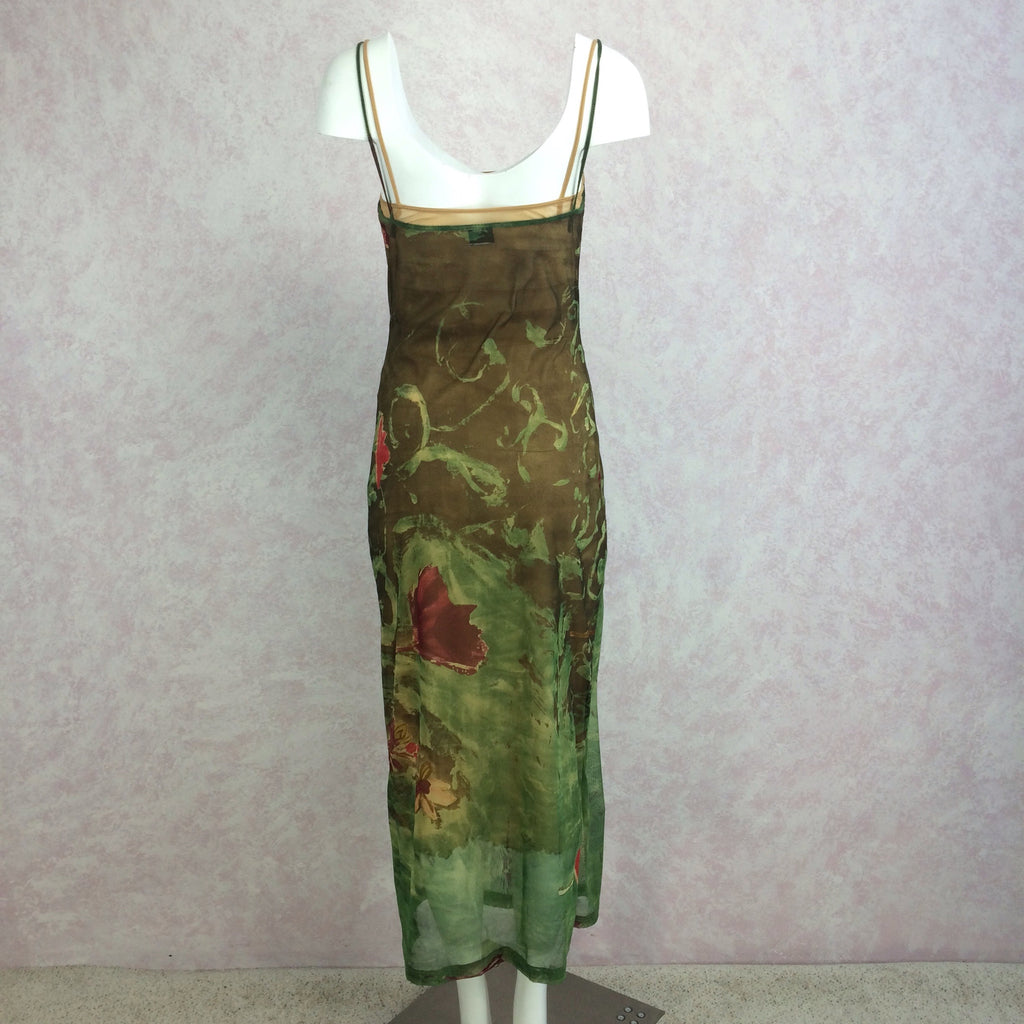 2000s PLEIN SUD Mesh Printed Dress Ensemble, Dress back