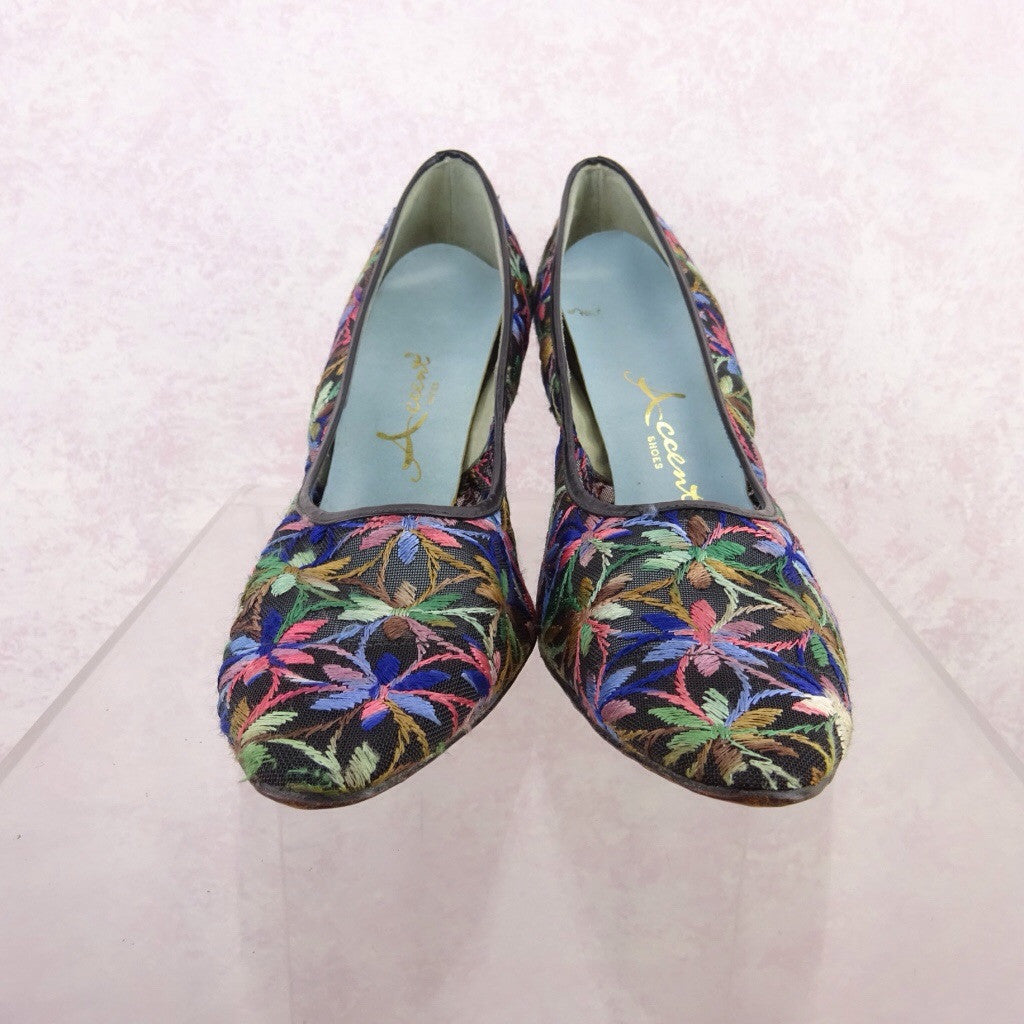 Vintage 50s Multi-Color Embroidered Stilettos