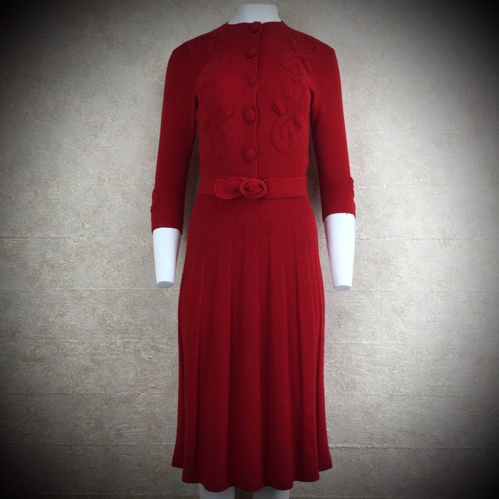 Vintage 40s Wool Bouclé Dress w/ Floral Appliqué w/Belt SOLD