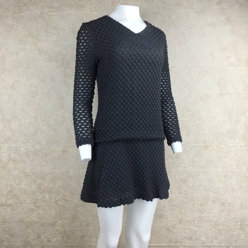 Vintage 60s Bubble Knit Drop-Waist Minidress, Side