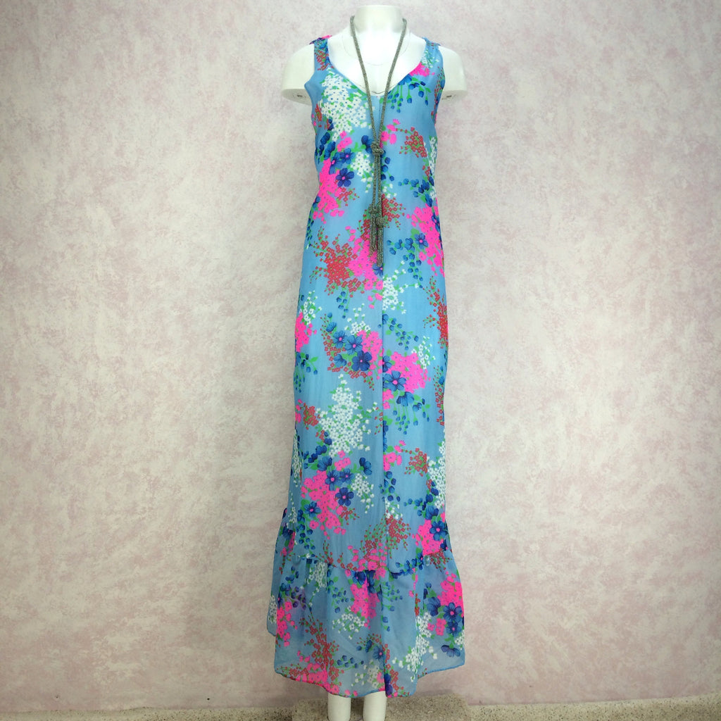 Vintage 70s Floral Flowing Organza Maxi Dress