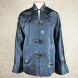 Vintage 60s Chinese Satin Floral Brocade Jacket, front