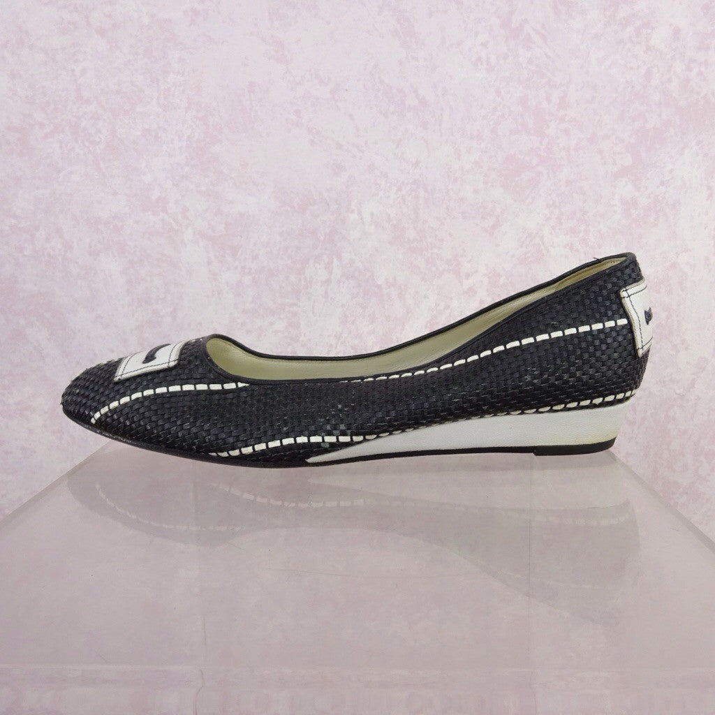 Vintage 70s Leather Basket Weave Flats w/Buckle d