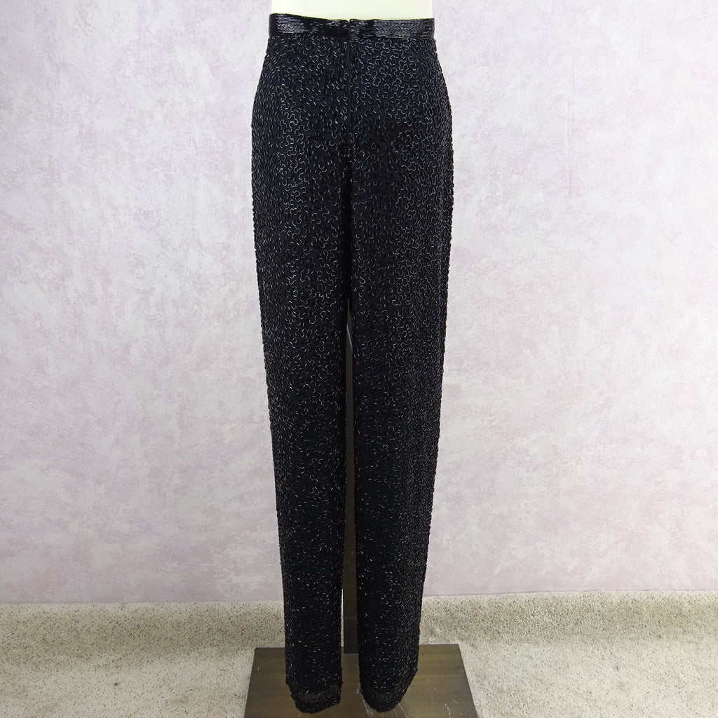 Vintage 80s Silk Bugle Beaded Evening Pantsf