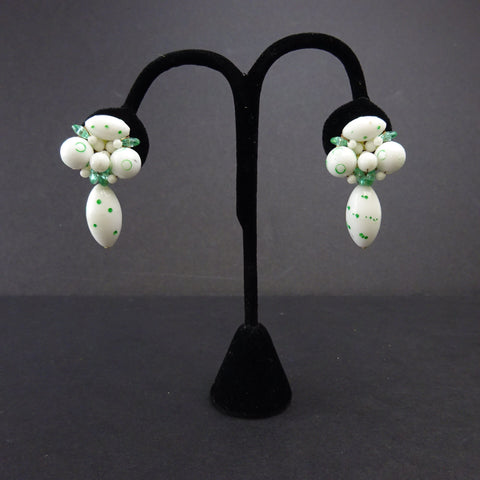Vintage 60s 3D Enamel Floral Clip Earrings  SOLD