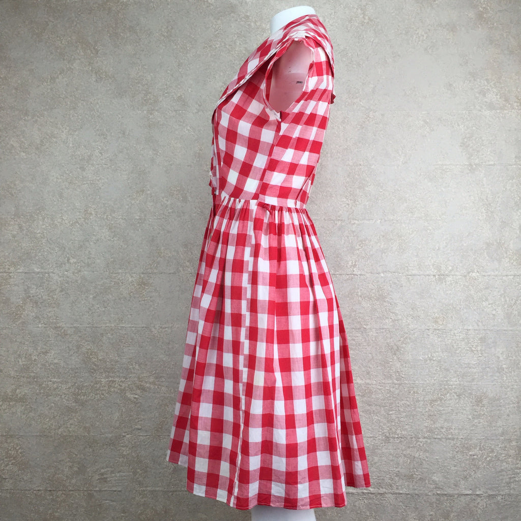 Vintage 60s Gingham Fit & Flair Dress, Side 2