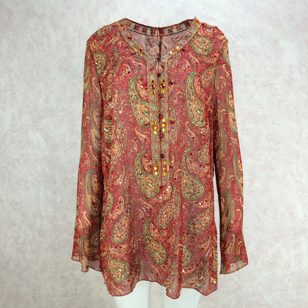 2000s Silk Paisley Tunic w/Colorful Beading Detail, Front