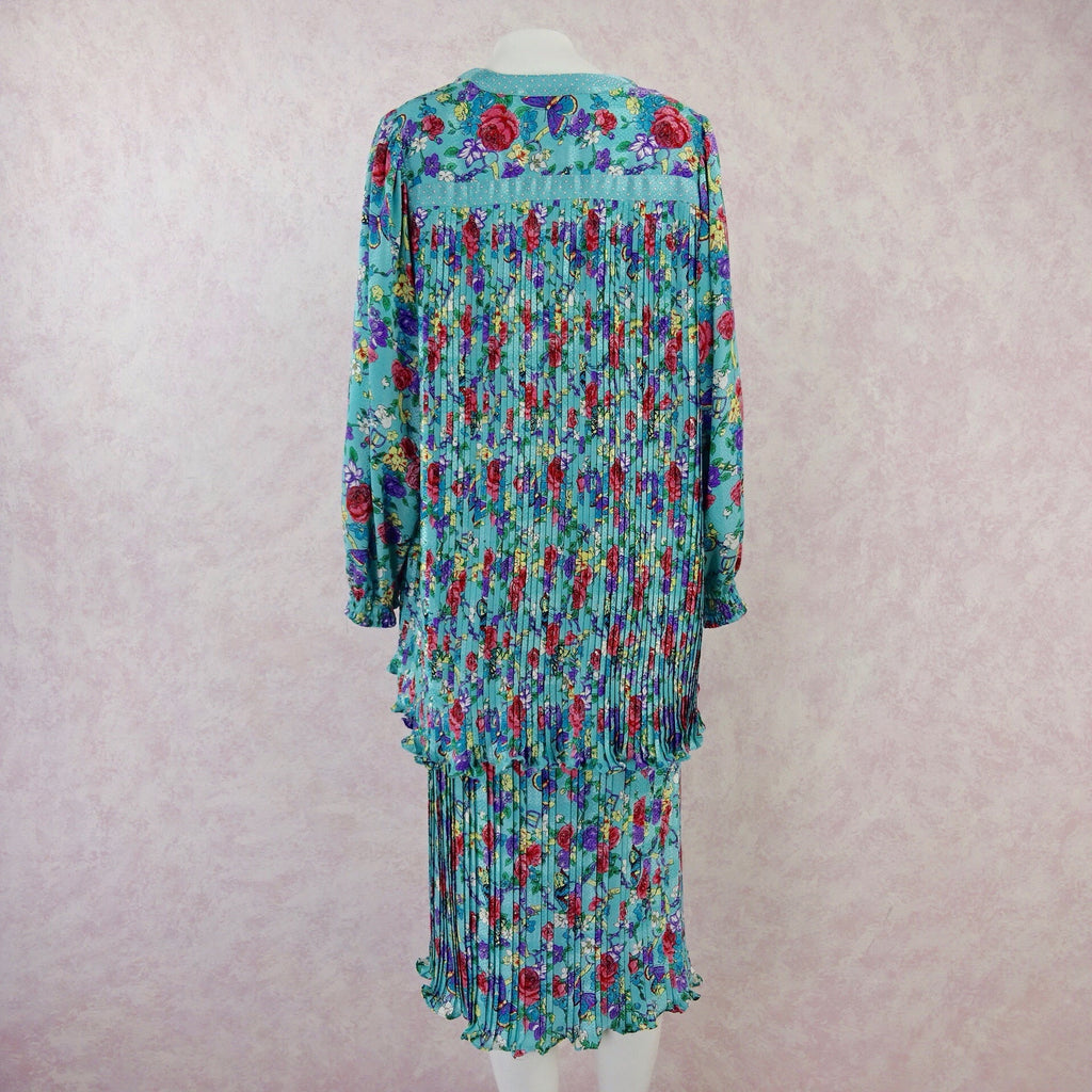 Vintage 80s DIANE FRES Pleated Floral Ensemble