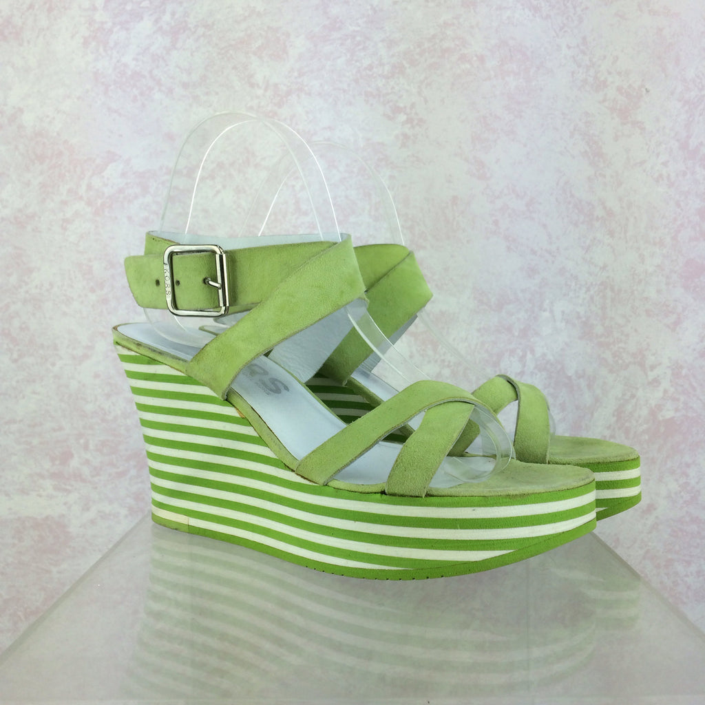 2000s MICHAEL KORS Lime Ankle Strap Wedgies, Side