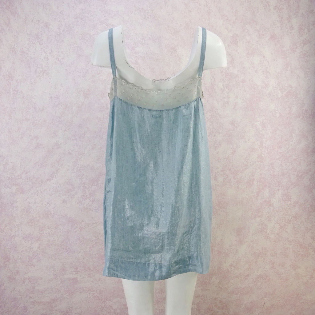 2000s DOSA Metallic Linen Slip Dress, NOS back