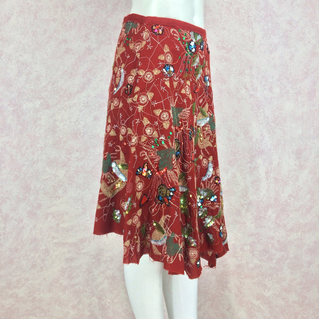 2000s Diagonal Hem Embroidered Skirt w/Sequins, Side 2