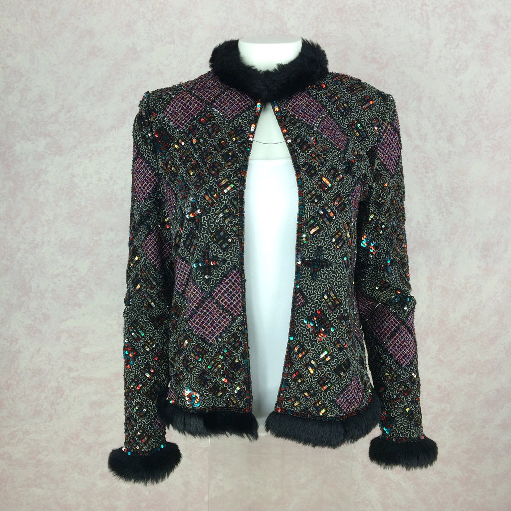 2000s CARINA Beaded & Faux Fur Jacket w/Embroidery, front