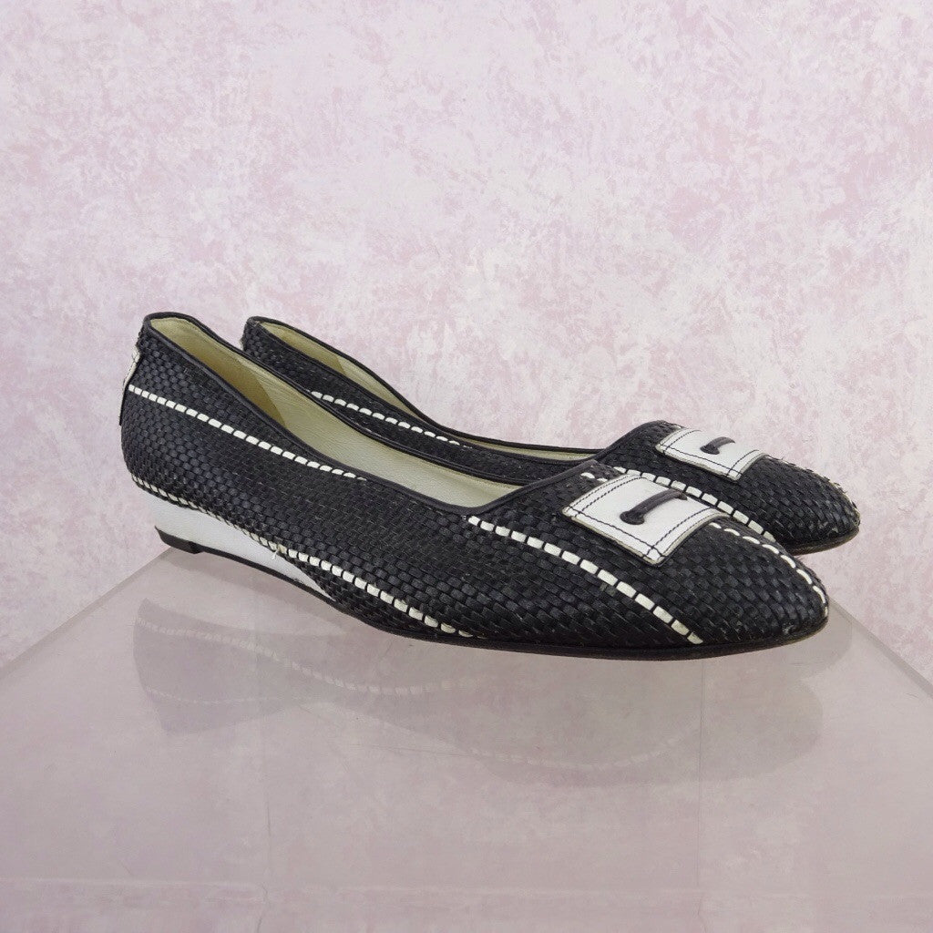 Vintage 70s Leather Basket Weave Flats w/Buckle